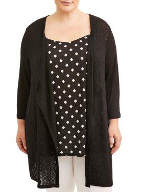 fb3259f1 Women's Plus-Size Cardigans and Sweaters - Walmart.com - Walmart.com