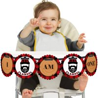Lumberjack - Channel The Flannel - I Am One - Buffalo Plaid First Birthday High Chair Birthday Banner