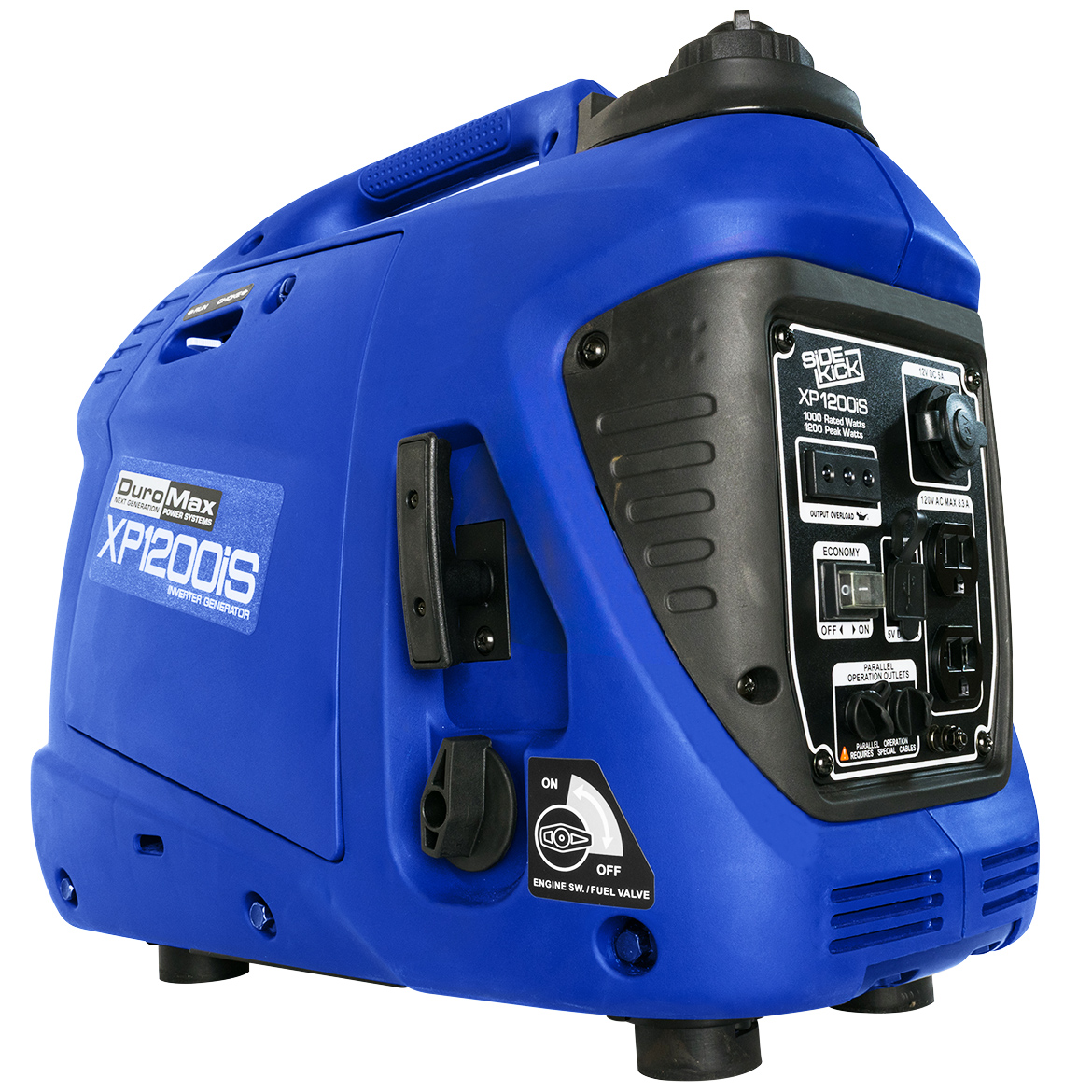 Click here to buy DuroMax XP1200iS 1,200 Watt Portable Digital Inverter Gas Powered Generator.