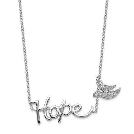 Sterling Silver Hope with CZ Dove Charm Necklace, 18""