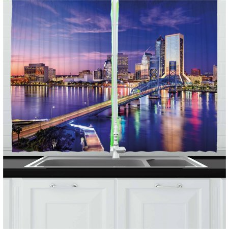 United States Curtains 2 Panels Set, Jacksonville Florida Skyline Vibrant Night St. Johns River Scenic, Window Drapes for Living Room Bedroom, 55W X 39L Inches, Royal Blue Pale Pink, by Ambesonne John Deere Curtain