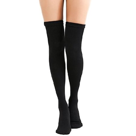 AM Landen Ladies' Thigh High Opaque Socks, US Size Small 2-4(Thick Black)