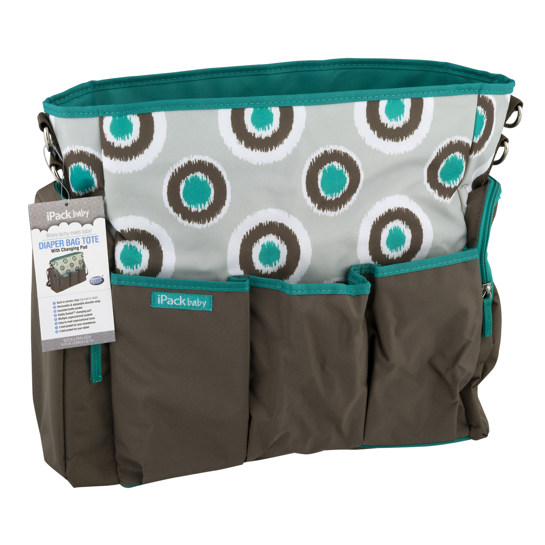 iPack Baby Diaper Bag Tote iKat Design, 1.0 CT