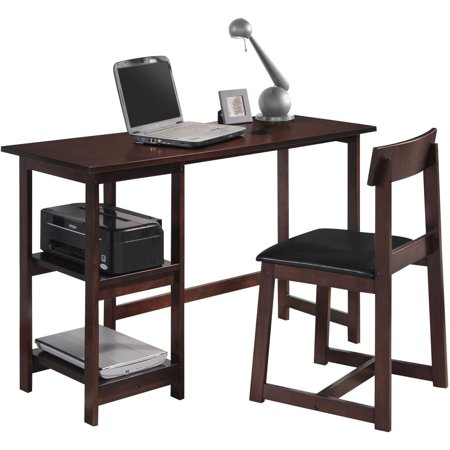 Vance 2 Piece Pack Desk And Chair Espresso And Black Faux Leather