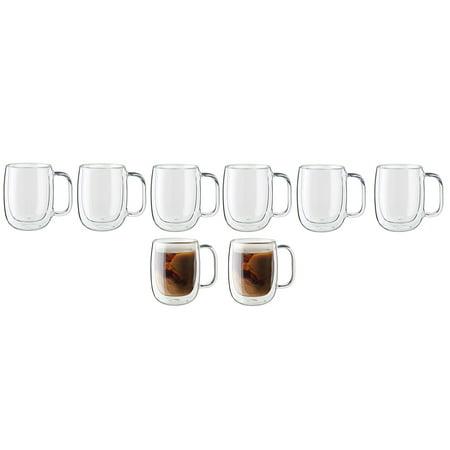 Zwilling Sorrento Plus 8 Pc Double Wall Glass Coffee Mug Set