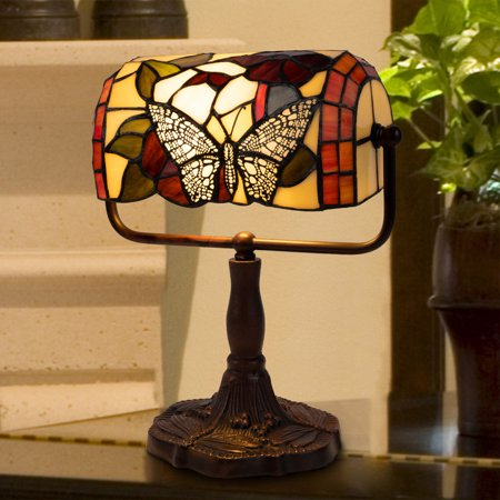 Tiffany Style Bankers Lamp-Stained Glass Butterfly Design Table or Desk Light by Lavish