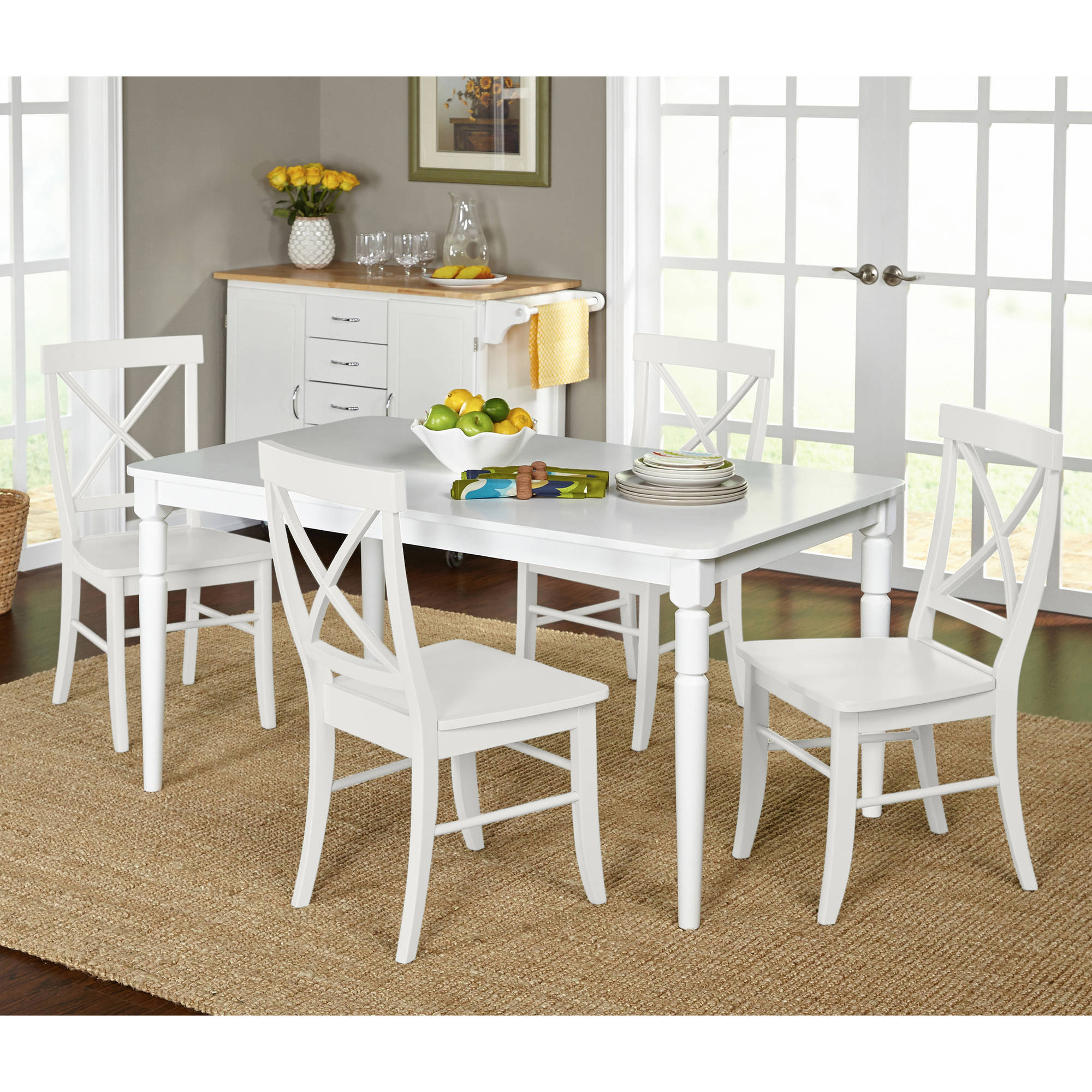Albury 5-Piece Cross Back Dining Set, Multiple Colors