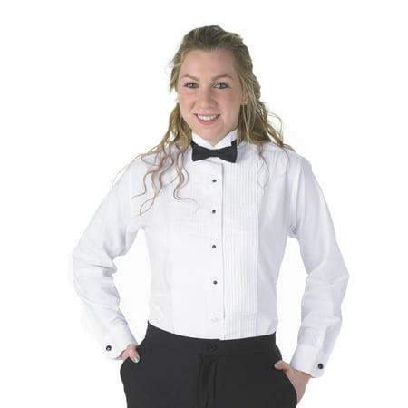 Henry Siegel Women's Tuxedo Shirt Poly/Cotton 1/4 Pleat Wing (Cotton Tuxedo)