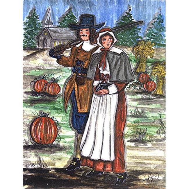 Pilgrims Thanksgiving Flag Garden Size