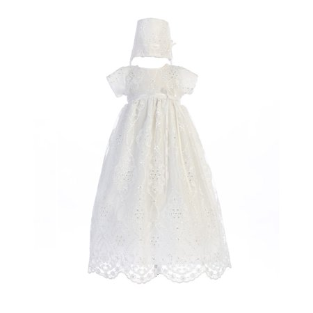 Baby Girls White Embroidered Tulle Bonnie Hat Christening Dress (Next Christening Dresses)