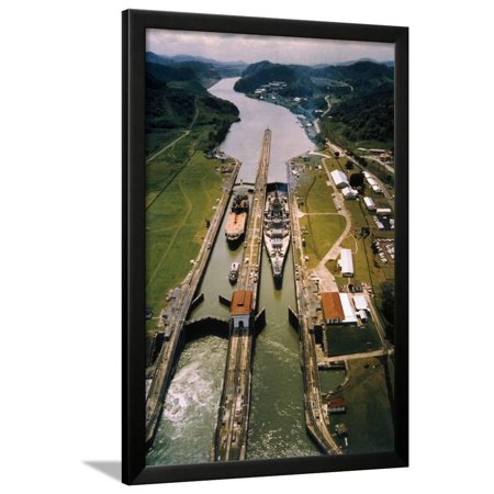 Battleship Passing through Panama Canal Framed Print Wall (Canal Framed Print)