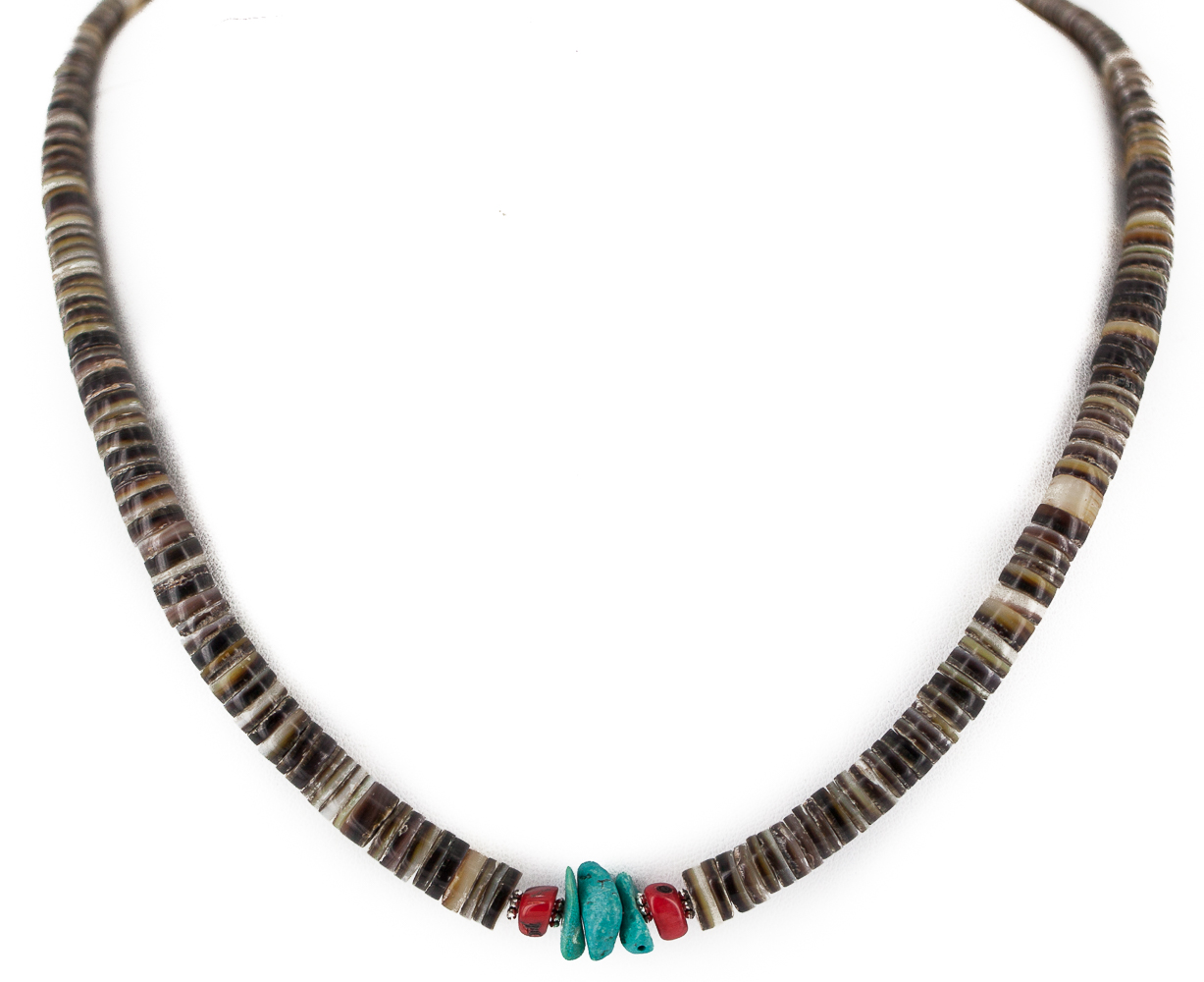 Delicate $330 Retail Tag .925 Sterling Silver Navajo Authentic Made by Charlene Little Coral and Natural Turquoise... by