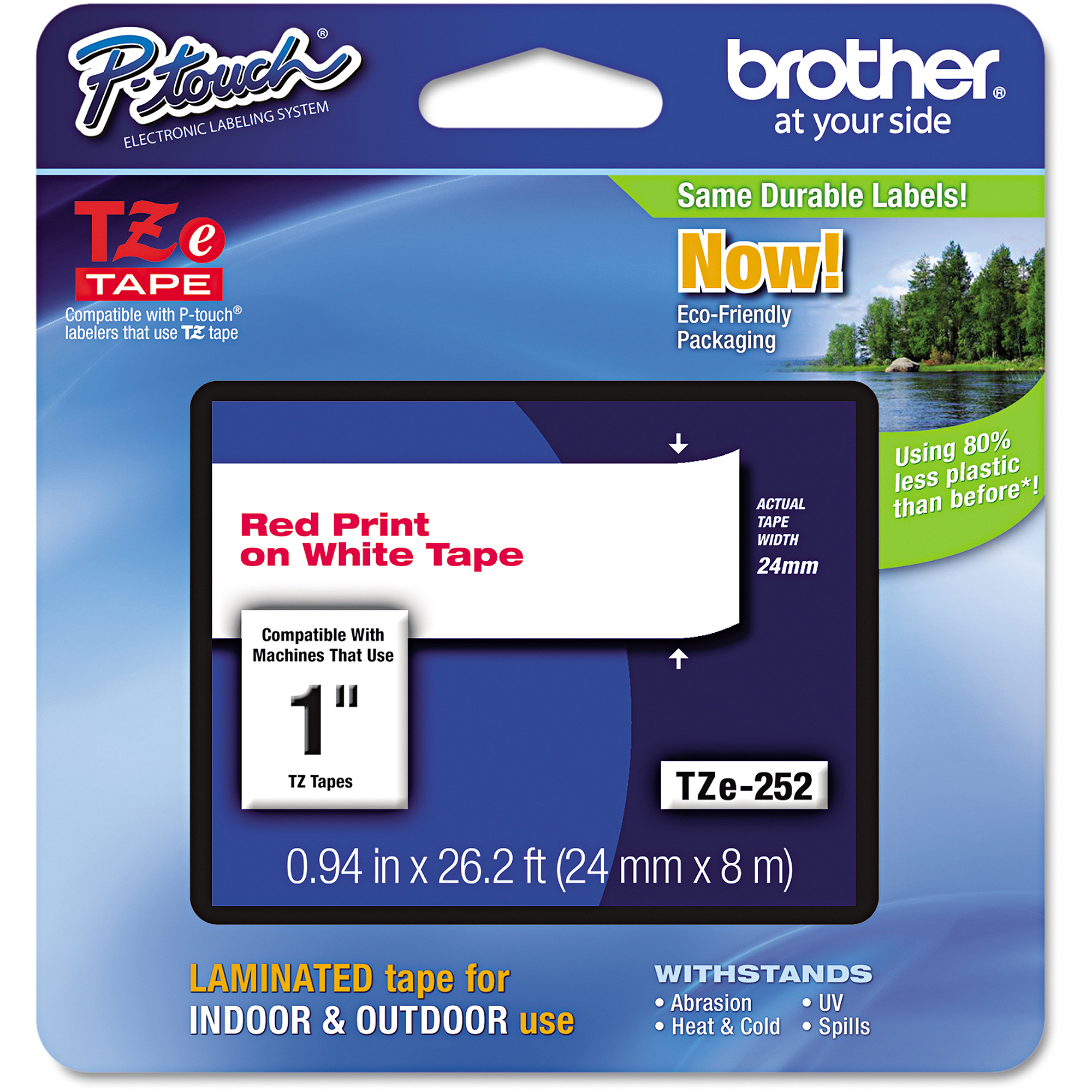Brother P-Touch TZe Standard Adhesive Laminated Labeling Tape, 1w, Red on White