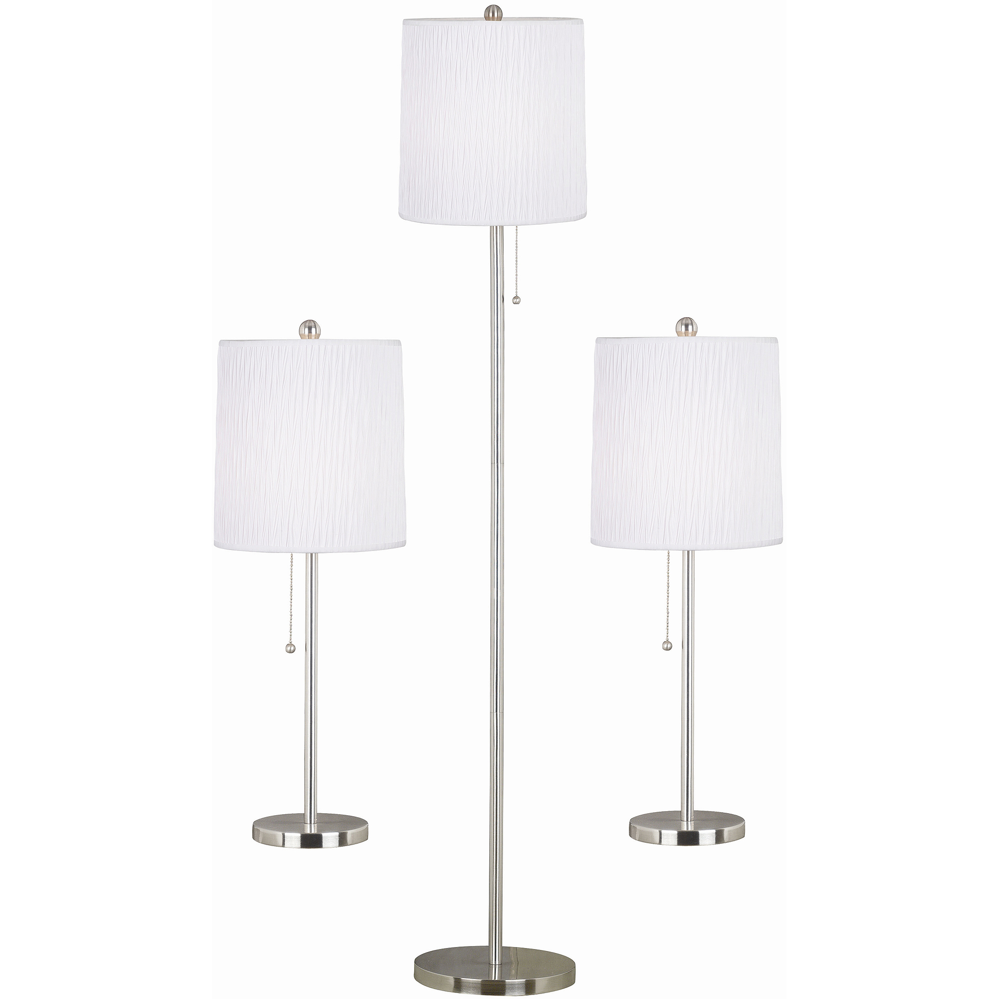 Floor lamp tables - Kenroy Home Selma 3 Piece Table Floor Lamp Set Brushed Steel