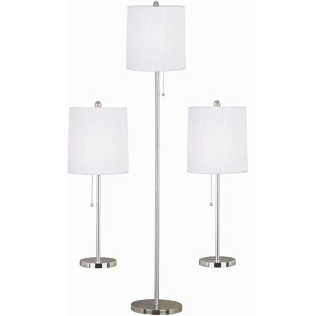 Kenroy Home Selma 3 Piece Table Floor Lamp Set  Brushed Steel. Kenroy Home Selma 3 Piece Table Floor Lamp Set  Brushed Steel