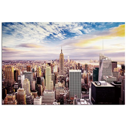 Modern Home Ultra High Resolution Tempered Glass Wall Art - New York Skyline World Trade Center 1
