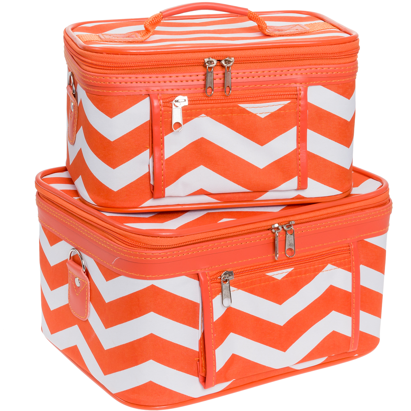 Women's Chevron Print Make-up Travel Cosmetic Train Cases - 2 Piece Set!