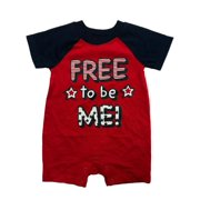Way to Celebrate Infant Boys' Free To Be Me Patriotic Baby Romper 4th of July Outfit