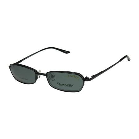 New Elite Clipon Eyewear Clever Clip 010 Mens/Womens Designer Half-Rim Black Frame Demo Lenses 51-17-140 Sunglass Lens Clip-Ons Flexible Hinges Eyeglasses/Eyeglass (Best Sunglass Lens Color For Golf)