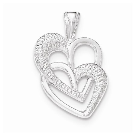 Roy Rose Jewelry Sterling Silver Polished 2 Hearts Chain Slide (Polished Heart Slide)