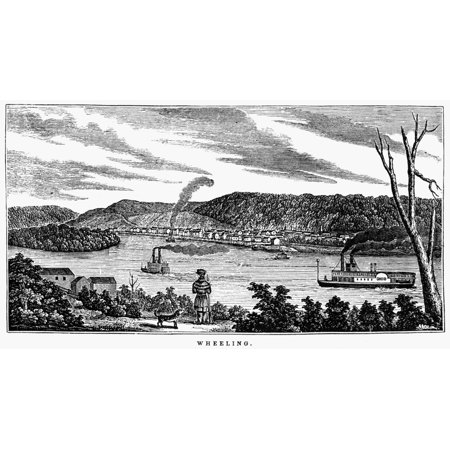 Wheeling West Virginia Nwheeling Virginia Present Day West Virginia Seen From The Ohio Side Of The Ohio River Wood Engraving American 1856 Rolled Canvas Art     24 X 36