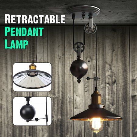 Pendant 1 Light 60w Fan (60W Retro Industrial Vintage Iron Chandelier Ceiling Light Pulley Pendant Lamp with Adjustable Retractable, E27 AC110-240V (Bulb is not included) )