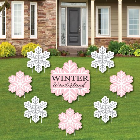Pink Winter Wonderland - Yard Sign & Outdoor Lawn Decorations-Holiday Snowflake Birthday Party or Baby Shower Yard Signs](Winter Wonderland Decorations)