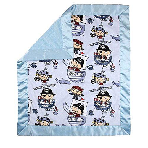 """My Blankee Pirates Minky Blue w/ Minky Dot Blue Baby Blanket, 30"""" x 35"""""""