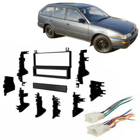 Fits Toyota Corolla 1993 4 Dr/Wagon Single DIN Harness Radio Install Dash Kit