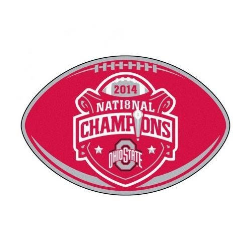 FANMATS 17657 OSU National Championship football shaped rug