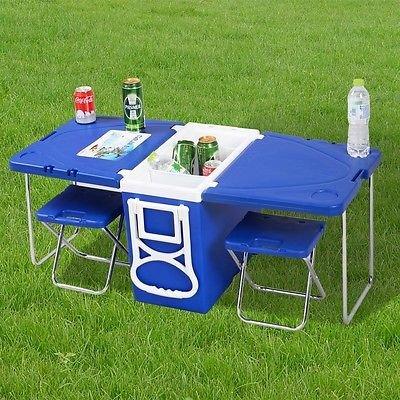 Multi Function Rolling Cooler Picnic Camping Outdoor w/ Table & 2 Chairs Blue Picnic Table Cooler