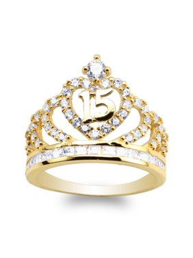 10K Yellow Gold 15 Anos Quinceanera Crown Ring Size 4-10