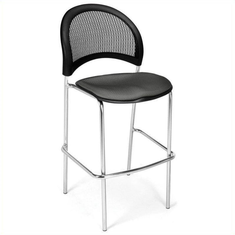Moon Cafe Height Bar Stool w Curved Back and Padded Contoured Seat -Set of 2 (Black)