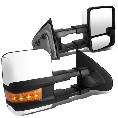For 2014 to 2017 Silverado / Sierra Pair of Powered + Heated + Amber Signal + Manual Extenable Chrome Side Towing Mirrors 15 16