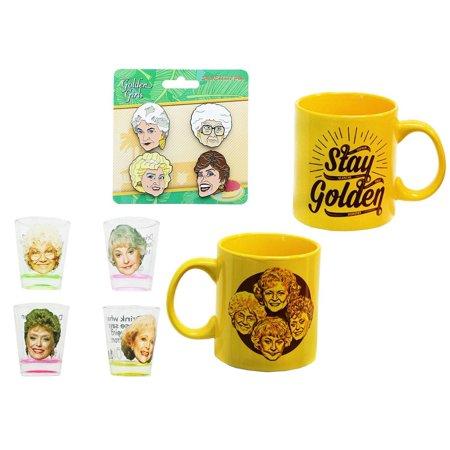 The Golden Girls 4-Piece Enamel Pin set, Shot Glass 4-Pack and Coffee Mug Gift - Girl Glasses