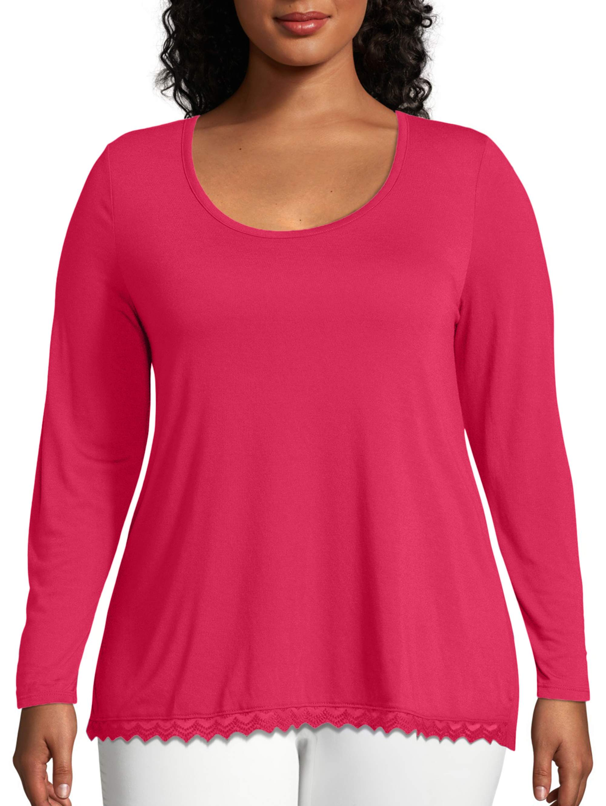 """NEW  /""""JUST MY SIZE  HOT PINK w// GREY STRIPE SCOOP NECK PULLOVER w// 3//4 SLEEVES"""