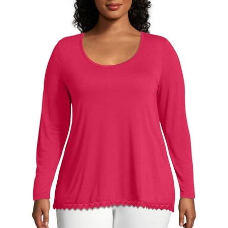 Women's Plus Long Sleeve Lace Trim Top