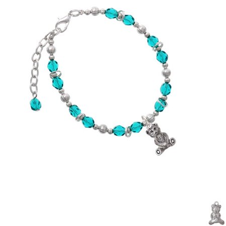 Antiqued Teddy Bear Teal Beaded Bracelet