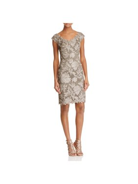 67cd7600821 Product Image Tadashi Shoji Womens Metallic Embroidered Cocktail Dress  Beige 14