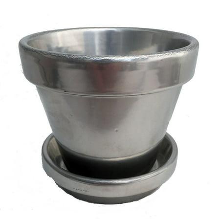 Powder Coated Silver Ceramic Pot and Saucer plus Felt Feet - 6.5