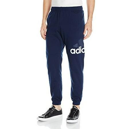 (Size Medium) adidas Men's Essential Logo Tapered Pants - Collegiate Navy/White