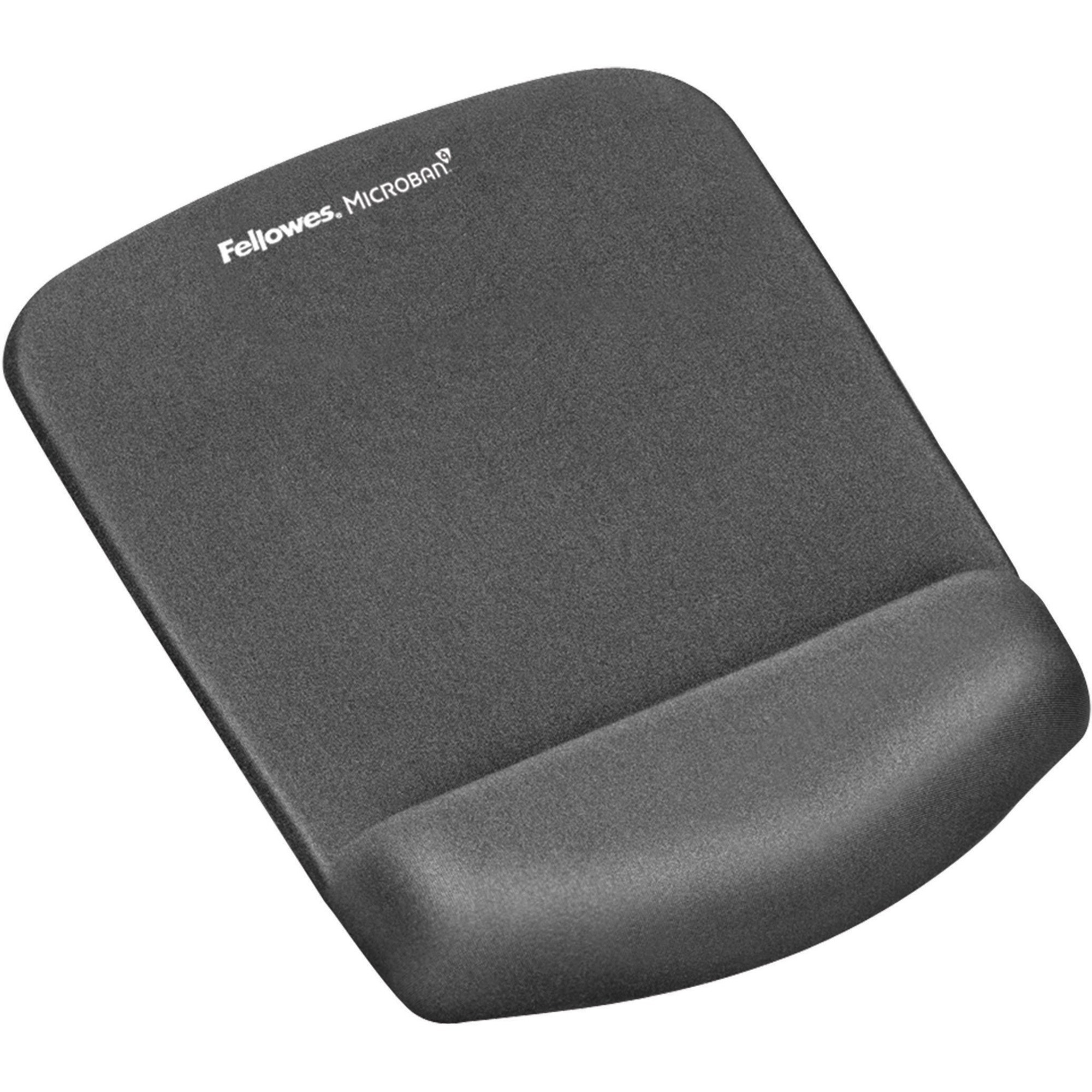 Fellowes, FEL9252201, PlushTouch™ Mouse Pad Wrist Rest with Microban® - Graphite, 1, Graphite