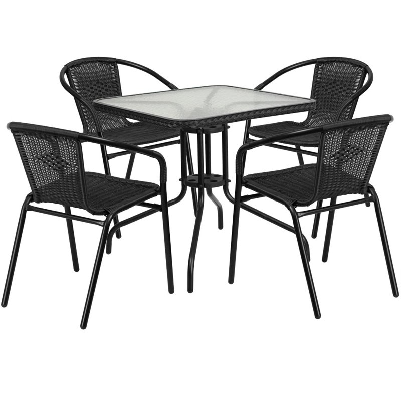 Bowery Hill 5 Piece Square Patio Dining Set in Black