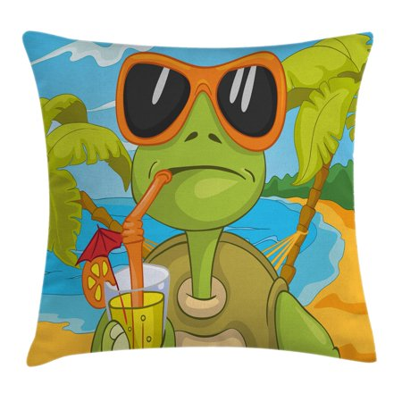Turtle Throw Pillow Cushion Cover, Cool Sea Turtle with Sunglasses Drinking Cocktail at the Beach Cartoon, Decorative Square Accent Pillow Case, 16 X 16 Inches, Green Orange Light Blue, by - Sea Turtle Pillow