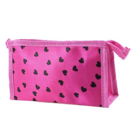 Zipper Closure Black Heart Prints Rectangle Cosmetic Makeup Bag Fuchsia for Women - image 1 of 1
