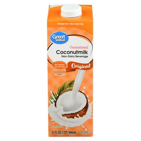 (6 Pack) Great Value Original Coconut Milk Unsweetened, 32 fl oz