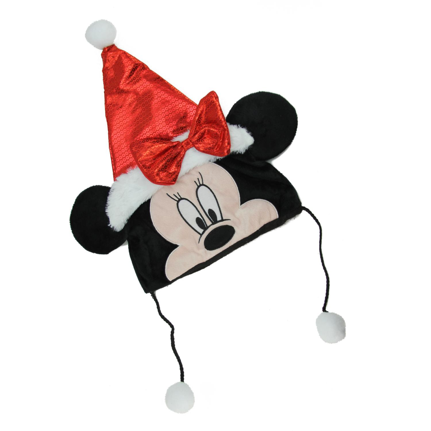 """16"""" Disney Minnie Mouse Plush Christmas Santa Hat with Red Bow, White Faux Fur Trim and Hanging Pompoms"""