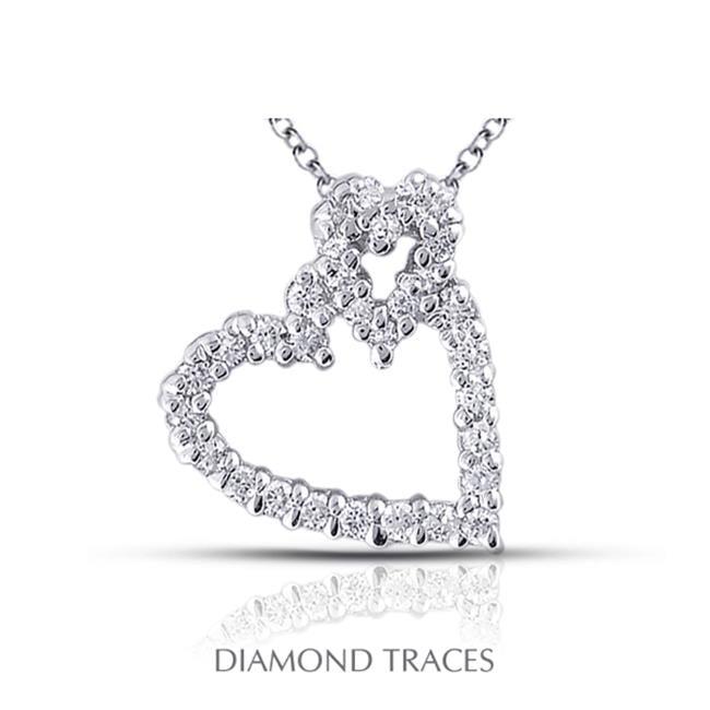 Diamond Traces 0.91 Carat Total Natural Diamonds 14K White Gold Prong Setting Heart Shape Fashion Pendant