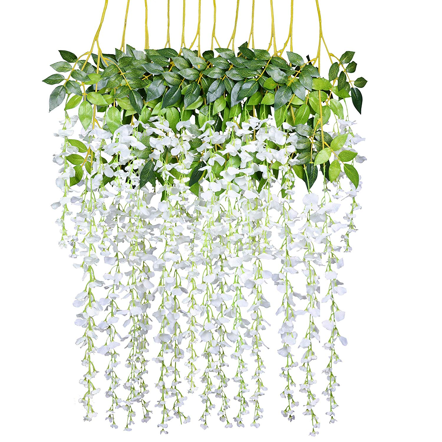 Coolmade 12 Pack 3.6 Feet/Piece Artificial Fake Wisteria Vine Ratta Hanging Garland Silk Flowers String Home Party Wedding Decor (White)