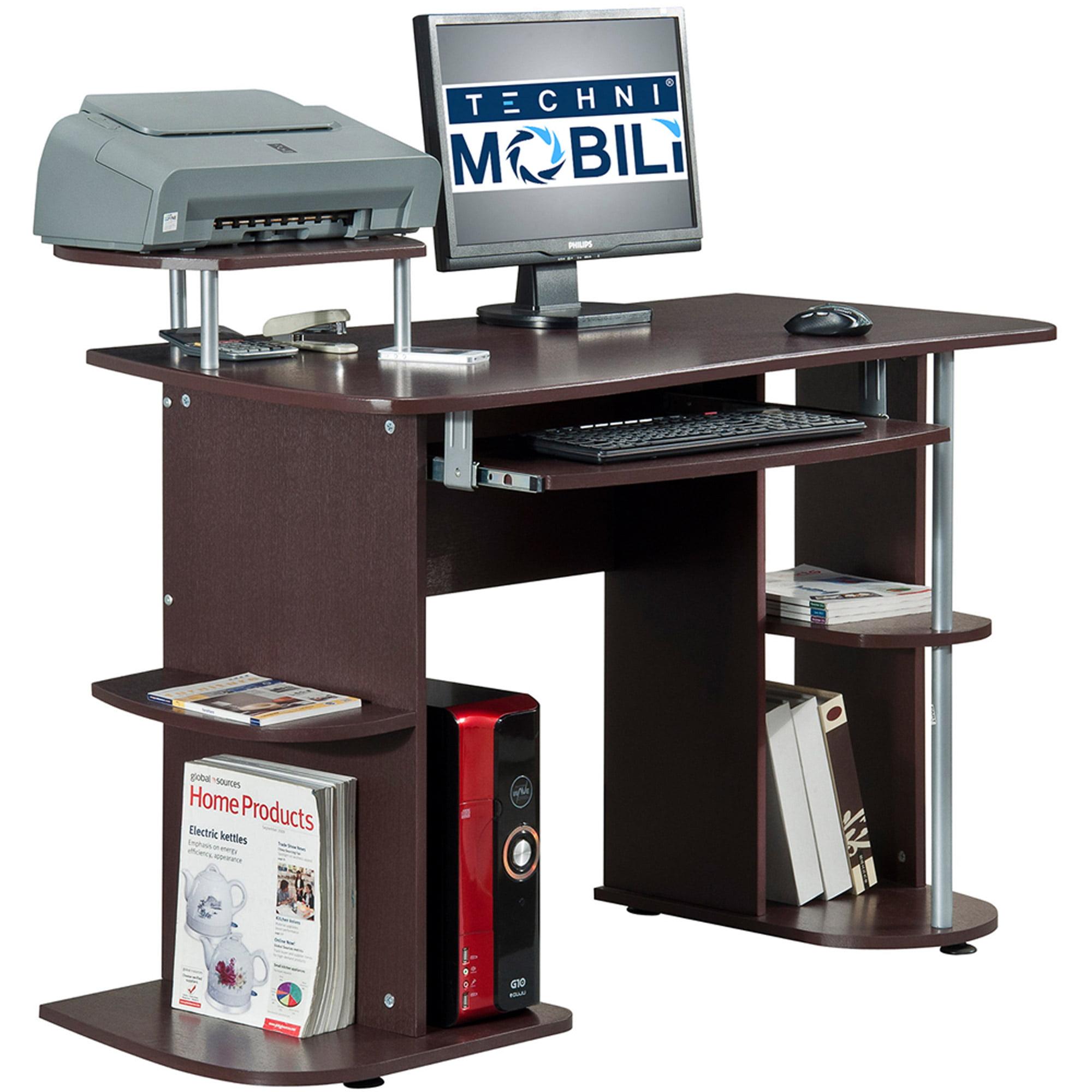 Techni Mobili Multifunction Computer Desk, Chocolate